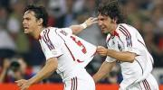 AC Milan's Inzaghi and Pirlo celebrate the opening goal against Liverpool during the Champions League final soccer match in Athens