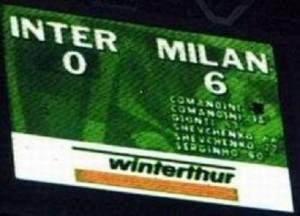 Stagione 2000/01, Inter-Milan 0-6: 2' e 19' Comandini, 53' Giunti, 66' e 77' Shevchenko, 81' Serginho