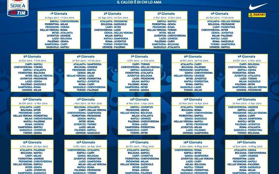 Serie A Calendario 7 Giornata.Serie A 2015 2016 Il Calendario Completo Del Milan