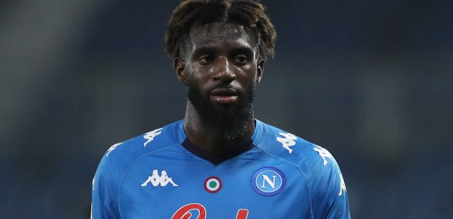 Tiemoue Bakayoko of SSC Napoli during the Serie A match at Gewiss Stadium, Bergamo. Picture date: 21st February 2021. Picture credit should read: Jonathan Moscrop/Sportimage PUBLICATIONxNOTxINxUK SPI-0914-0056