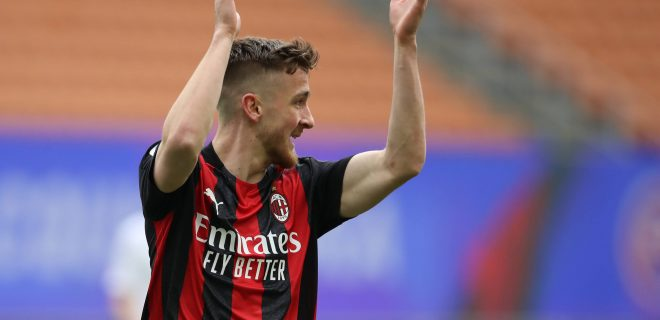 Milan, Italy, 18th April 2021. Alexis Saelemaekers of AC Milan reacts during the Serie A match at Giuseppe Meazza, Milan. Picture credit should read: Jonathan Moscrop / Sportimage PUBLICATIONxNOTxINxUK SPI-1001-0005