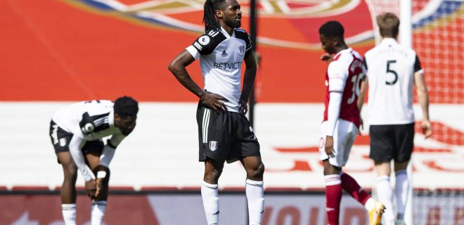 Mandatory Credit: Photo by Simon Dael/BPI/Shutterstock 11861427az Andr-Frank Zambo Anguissa of Fulham dejected at full time Arsenal v Fulham, Premier League, Football, The Emirates Stadium, London, UK - 18 Apr 2021 EDITORIAL USE ONLY No use with unauthorised audio, video, data, fixture lists, club/league logos or live services. Online in-match use limited to 120 images, no video emulation. No use in betting, games or single club/league/player publications. Arsenal v Fulham, Premier League, Football, The Emirates Stadium, London, UK - 18 Apr 2021 EDITORIAL USE ONLY No use with unauthorised audio, video, data, fixture lists, club/league logos or live services. Online in-match use limited to 120 images, no video emulation. No use in betting, games or single club/league/player publications. PUBLICATIONxINxGERxSUIxAUTXHUNxGRExMLTxCYPxROMxBULxUAExKSAxONLY Copyright: xSimonxDael/BPI/Shutterstockx 11861427az