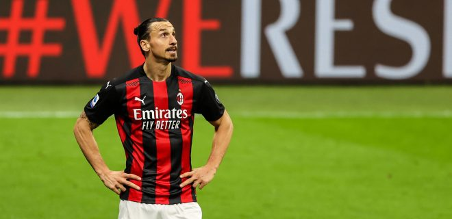 May 1, 2021, Milan, Italy: Zlatan Ibrahimovic of AC Milan seen during the 2020/21 Italian Serie A football match between AC Milan and Benevento Calcio at Stadio Giuseppe Meazza..Final score AC Milan 2:0 Benevento Calcio. Milan Italy - ZUMAs197 20210501_zaa_s197_726 Copyright: xFabrizioxCarabellix