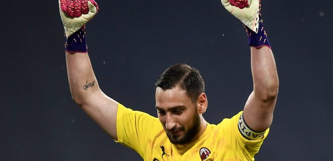 Juventus FC v AC Milan - Serie A Gianluigi Donnarumma of AC Milan celebrates the victory at the end of the Serie A football match between Juventus FC and AC Milan. AC Milan won 3-0 over Juventus FC. Turin Italy Copyright: xNicolxCampox