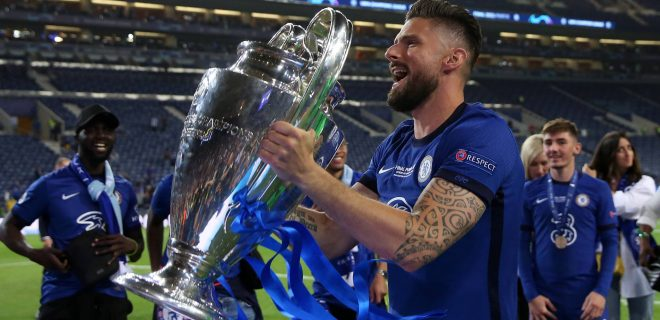 Porto, Portugal, 29th May 2021. Olivier Giroud of Chelsea celebrates during the UEFA Champions League match at the Estadio do Dragao, Porto. Picture credit should read: David Klein / Sportimage PUBLICATIONxNOTxINxUK SPI-1071-0332