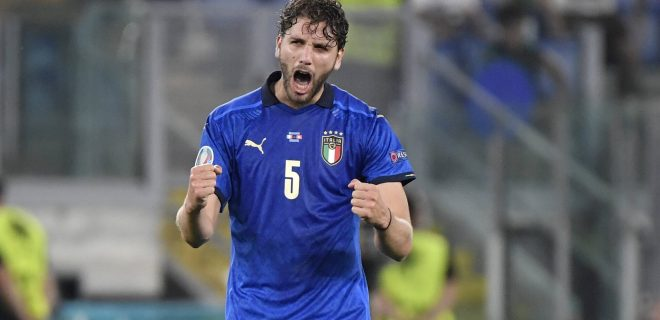 Manuel Locatelli of Italy celebrates after scoring the goal of 1-0 during the UEFA EURO, EM, Europameisterschaft,Fussball 2020 Group stage - Group A football match between Italy and Switzerland at stadio Olimpico in Rome Italy, June 16th, 2021. Photo Andrea Staccioli / Insidefoto andreaxstaccioli