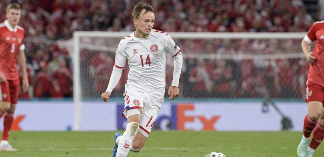 Mikkel DAMSGAARD DEN Aktion, Gruppenphase, Vorrunde Gruppe B, Spiel M27, Russland RUS - Daenemark DEN 1:4, am 21.06.2021 in Kopenhagen/ Daenemark. Fussball EM 2020 vom 11.06.2021-11.07.2021.