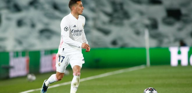 April 6, 2021, VALDEBEBAS, MADRID, SPAIN: Lucas Vazquez of Real Madrid in action during the UEFA Champions League, Quarter finals round 1, football match played between Real Madrid and Liverpool FC at Alfredo Di Stefano stadium on April 06, 2021 in Valdebebas, Madrid, Spain. VALDEBEBAS SPAIN - ZUMAa181 20210406_zaa_a181_048 Copyright: xOscarxJ.xBarrosox